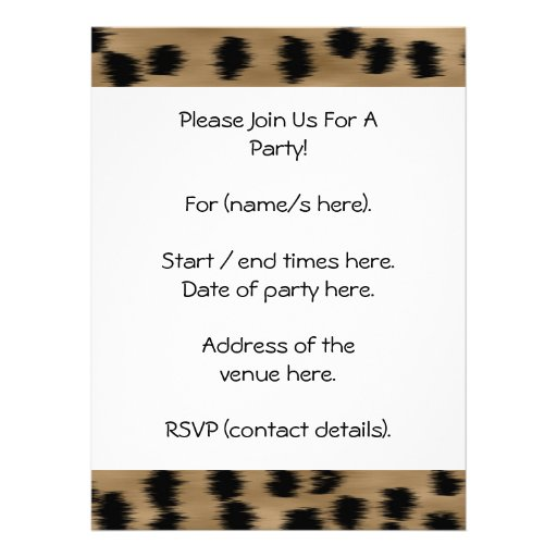 Black and Brown Cheetah Print Pattern. Custom Invitations