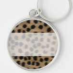 Black and Brown Cheetah Print Pattern. Keychain