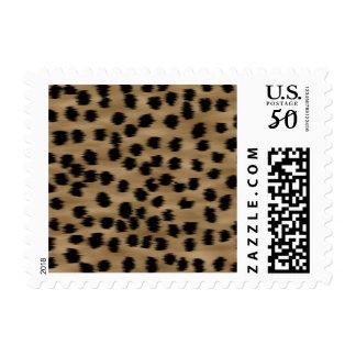 Black and Brown Cheetah Print Pattern. Postage