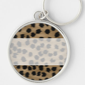 Black and Brown Cheetah Print Pattern. Silver-Colored Round Keychain