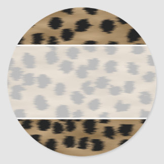 Black and Brown Cheetah Print Pattern Round Sticker