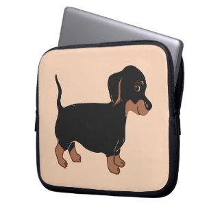 Black and Brown Dachshund Cream Laptop Sleeve