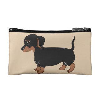 Black and Brown Dachshund Creme Cosmetic Bag