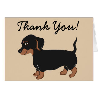 Black and Brown Dachshund Creme Thank You Card