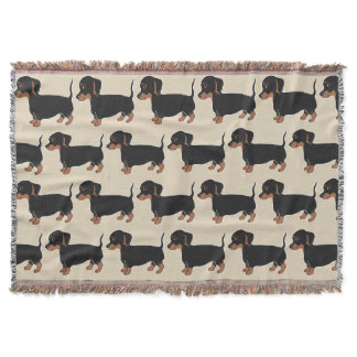 Black and Brown Dachshunds Pattern Throw Blanket