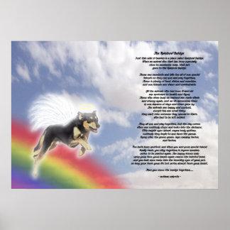 Black And Brown Dog Angel At Rainbow Bridge Poster