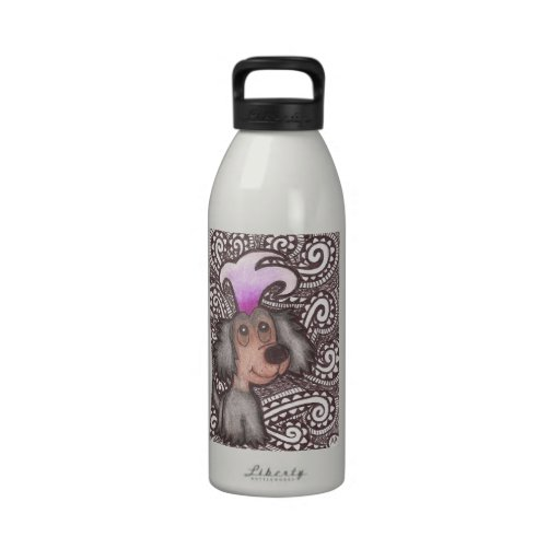 Black and Brown Dog Water Bottle