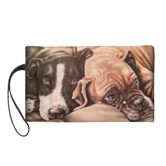 Black and Brown drawing of cute pet portrait dogs Wristlet