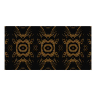 Black and Brown Floral Pattern Design. Personalized Photo Card
