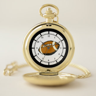 Black and Brown Football Sports Pocket Watch