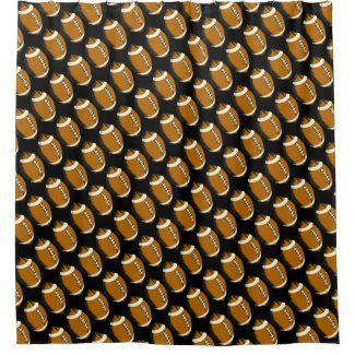 Black and Brown Football Sports Shower Curtain