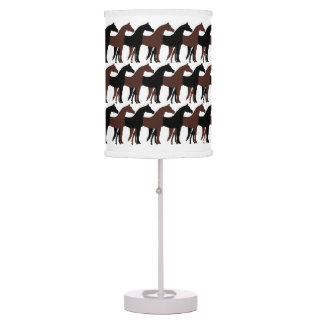 Black and Brown Horses on White Table Lamp