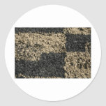 Black and brown shag checkered carpet classic round sticker
