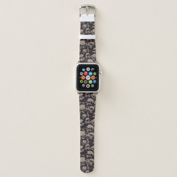 Black and Brown Skull Apple Watch Band