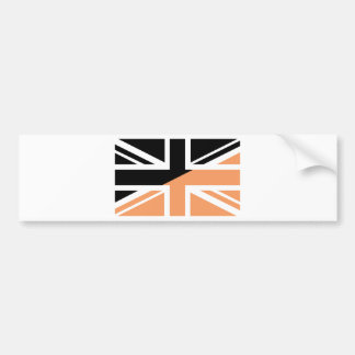 Black and brown Union Jack British(UK) Flag Bumper Sticker
