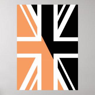 Black and brown Union Jack British(UK) Flag Poster