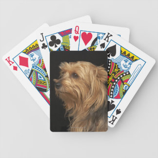 Black and brown Yorkie left profile on black Bicycle Playing Cards
