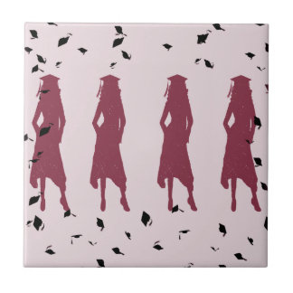 Black and Burgundy Grad Girl Silhouettes Tile