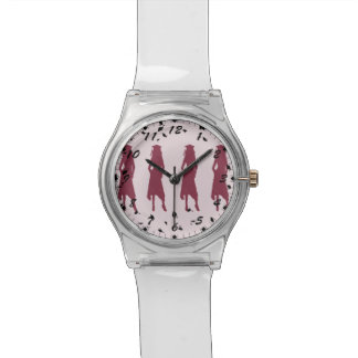 Black and Burgundy Grad Girl Silhouettes Wristwatch