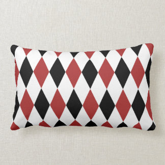 Black and Burgundy Harlequin Pattern Throw Pillow