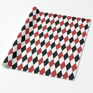 Black and Burgundy Harlequin Pattern Wrapping Paper