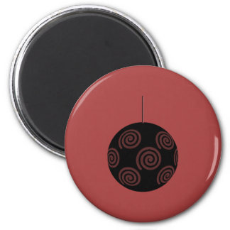 Black and Burgundy Red Christmas Bauble. Refrigerator Magnet