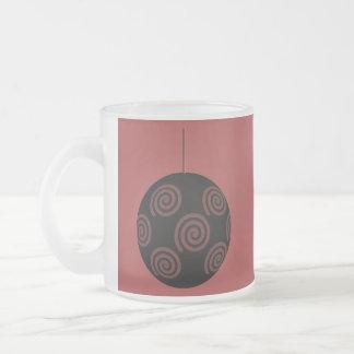 Black and Burgundy Red Christmas Bauble. Coffee Mug