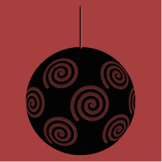 Black and Burgundy Red Christmas Bauble. Cut Out