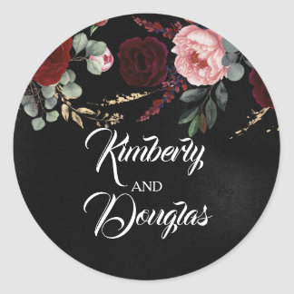 Black and Burgundy Red Modern Wedding Classic Round Sticker
