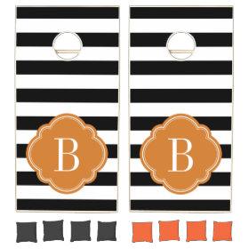Black and Burnt Orange Stripes Monogram Cornhole Sets
