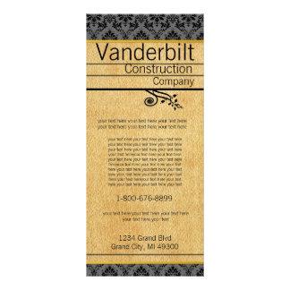 Black and Carmel Textured Damask  Rack Card
