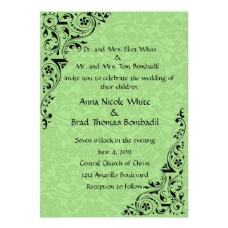 Black and Celadon Lace Wedding Invitation