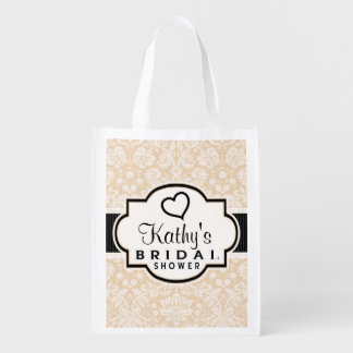 Black and Champagne Damask Bridal Shower Reusable Grocery Bag