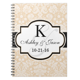 Black and Champagne Damask Wedding Note Book