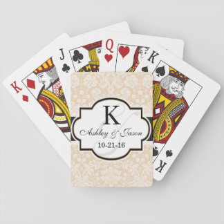 Black and Champagne Damask Wedding Playing Cards