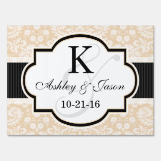 Black and Champagne Damask Wedding Sign