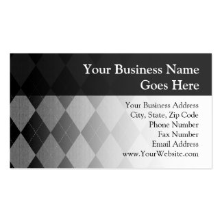 Black and Charcoal Gray Argyle Double-Sided Standard Business Cards (Pack Of 100)