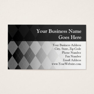 Black and Charcoal Gray Argyle Business Card
