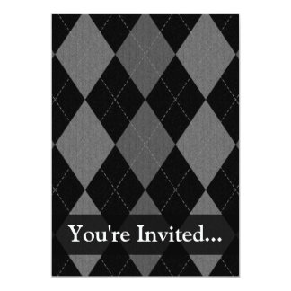 Black and Charcoal Gray Argyle Card
