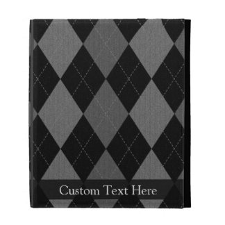 Black and Charcoal Gray Argyle iPad Cases