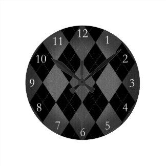Black and Charcoal Gray Argyle Wall Clocks