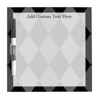 Black and Charcoal Gray Argyle Dry-Erase Board