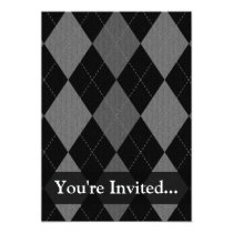 Black and Charcoal Gray Argyle Invitation