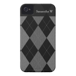 Black and Charcoal Gray Argyle iPhone 4 Cases