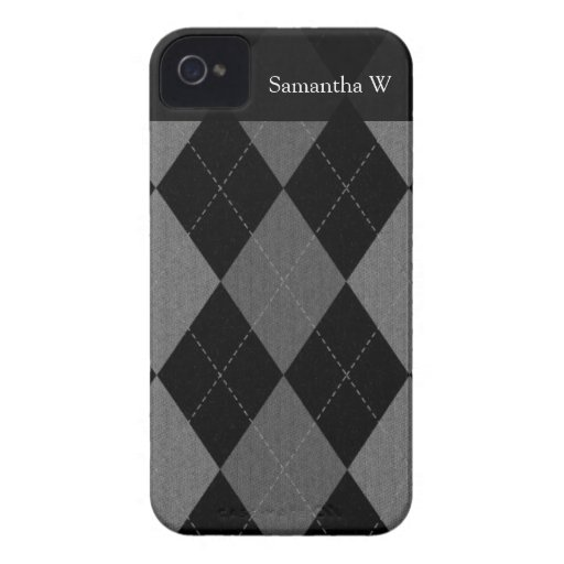 Black and Charcoal Gray Argyle iPhone 4 Cover