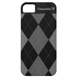 Black and Charcoal Gray Argyle iPhone SE/5/5s Case