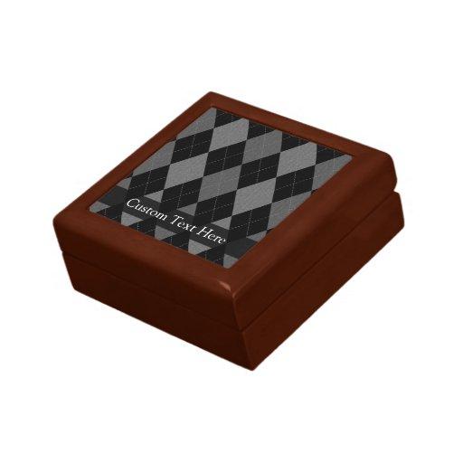 Black and Charcoal Gray Argyle Keepsake Box