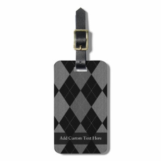 Black and Charcoal Gray Argyle Luggage Tag