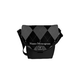 Black and Charcoal Gray Argyle Messenger Bags