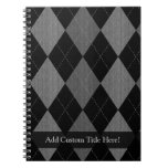 Black and Charcoal Gray Argyle Notebook